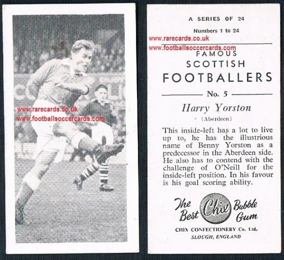 1954 Chix Famous Scottish Footballers 5 Harry Yorston Aberdeen